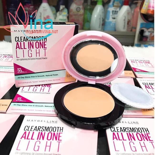Phấn Phủ Mịn Da Kiềm Dầu Maybelline Clear Smooth All In One Powder 9g - Số 1 - Light 2
