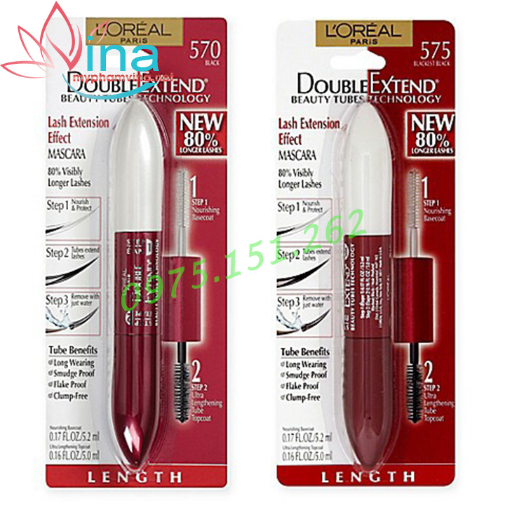 Mascara 2 đầu dưỡng mi Loreal Paris Double Extend Beauty Tubes 5.2ml 1