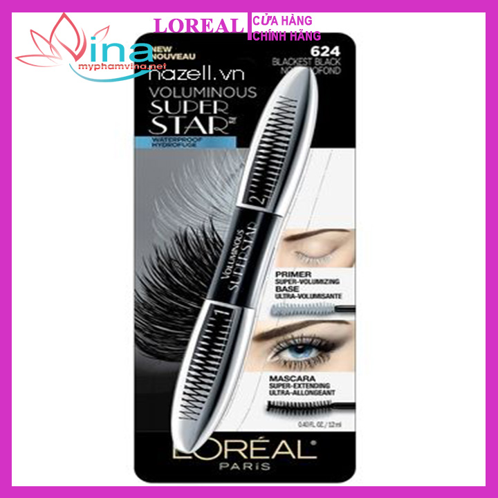 Mascara 2 Đầu Loreal VOLUMINOUS SUPER STAR BLACKEST BLACK NOIR PROFOND 12ML 2